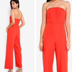 NWT Topshop Red Strapless Jumpsuit Size 0